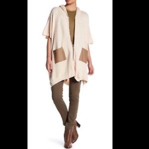 Walter Baker hooded poncho. Faux leather trim S